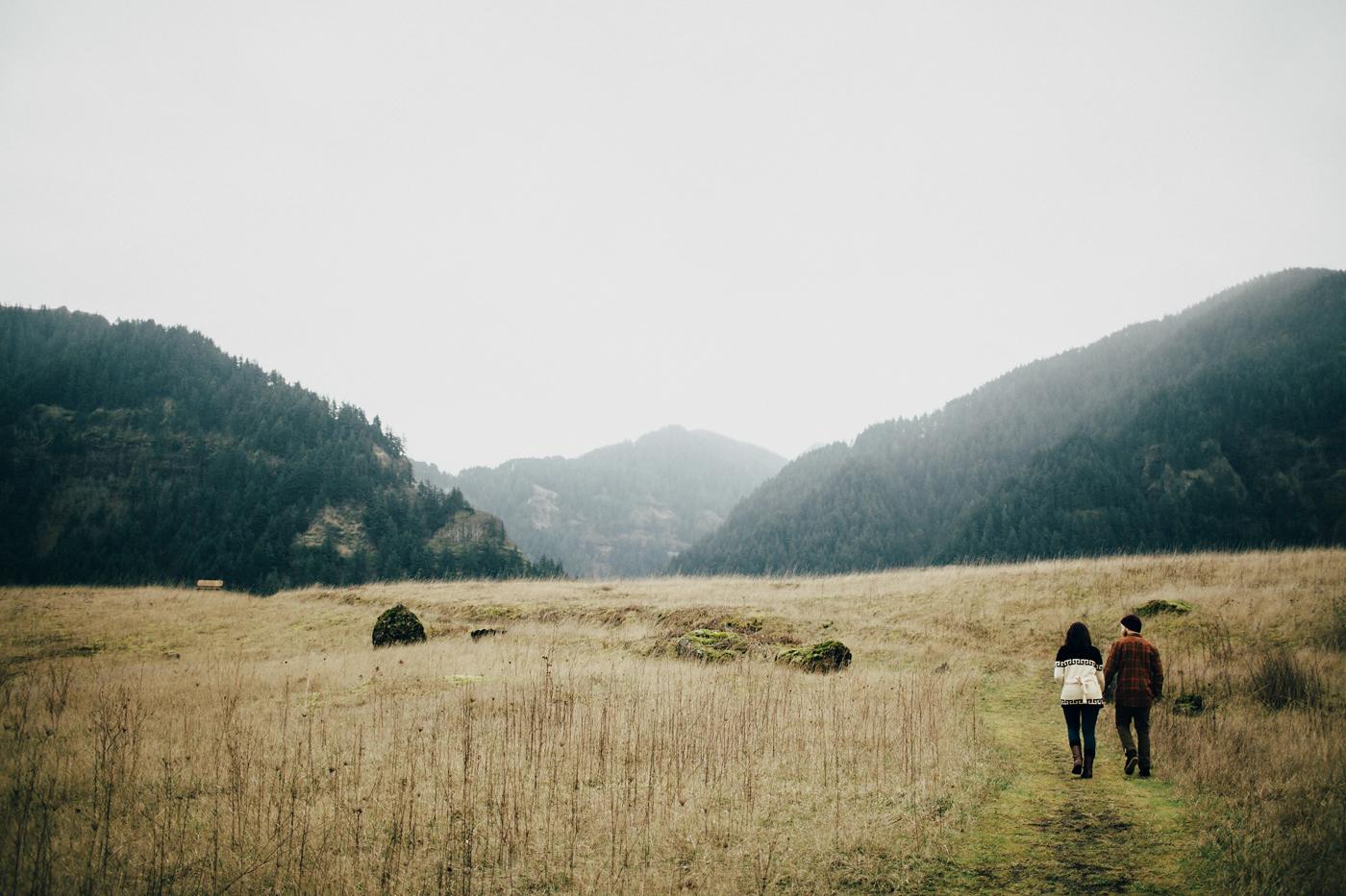 Cute couple walking through beautiful washington field