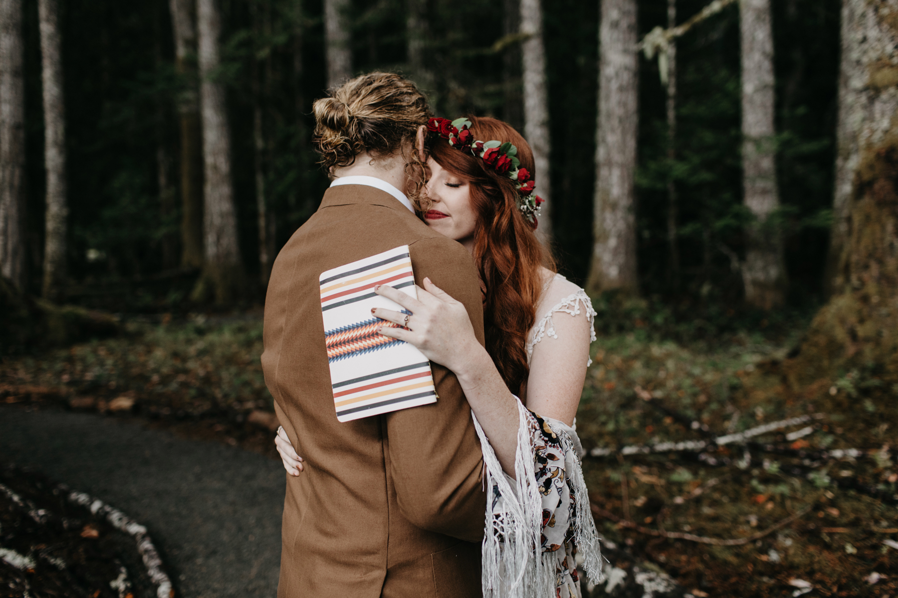 campsite wedding first look