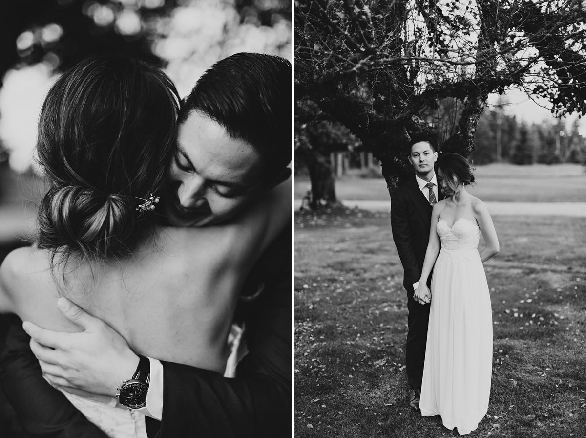 Couple embraces at their washington farm wedding