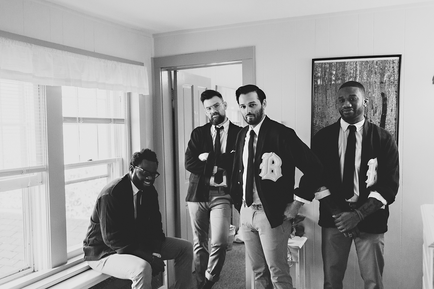 Groomsmen dressed at Fullmoon Resort in New York