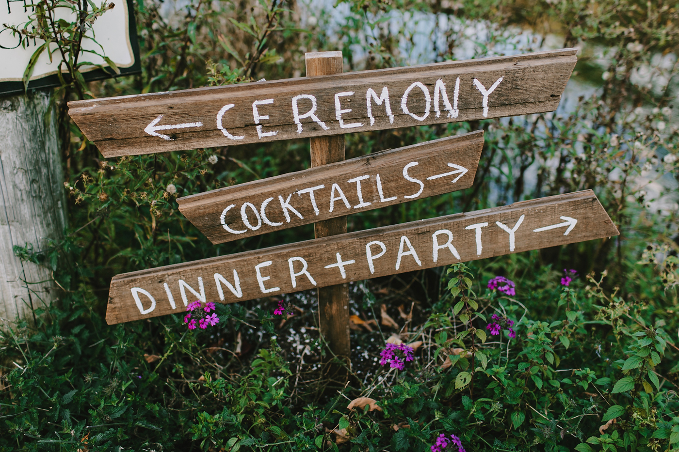 wooden ceremony signs at mountain new york wedding