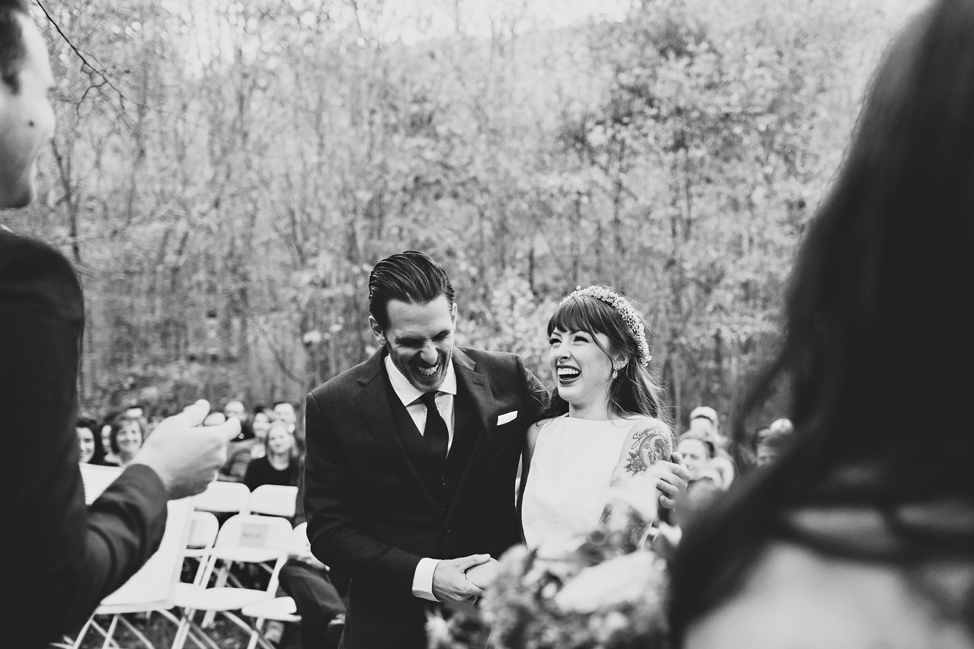 Couple laughing during their autumn new york wedding
