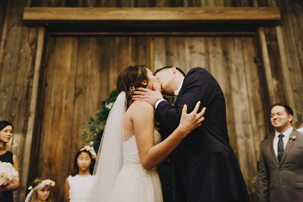 Couple's kiss after officially getting married