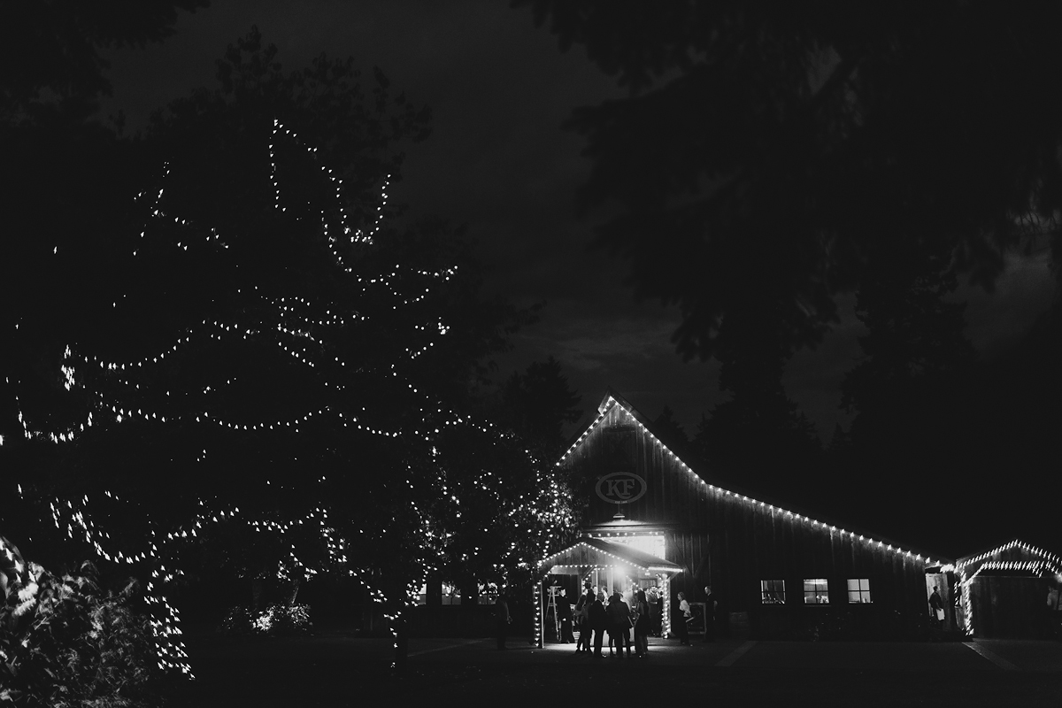 Washington farm wedding after dark