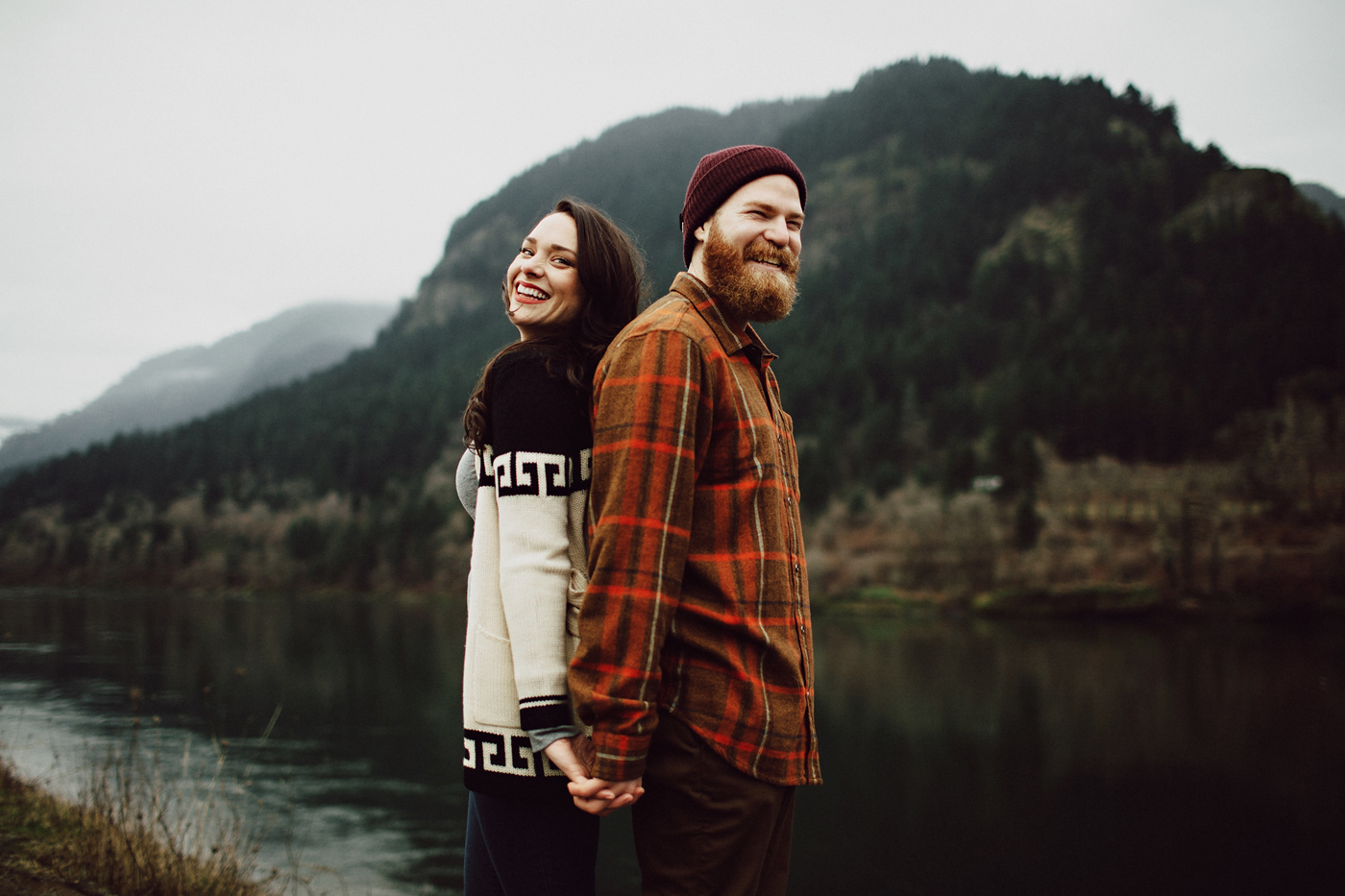Hipster couple at Columbia Gorge