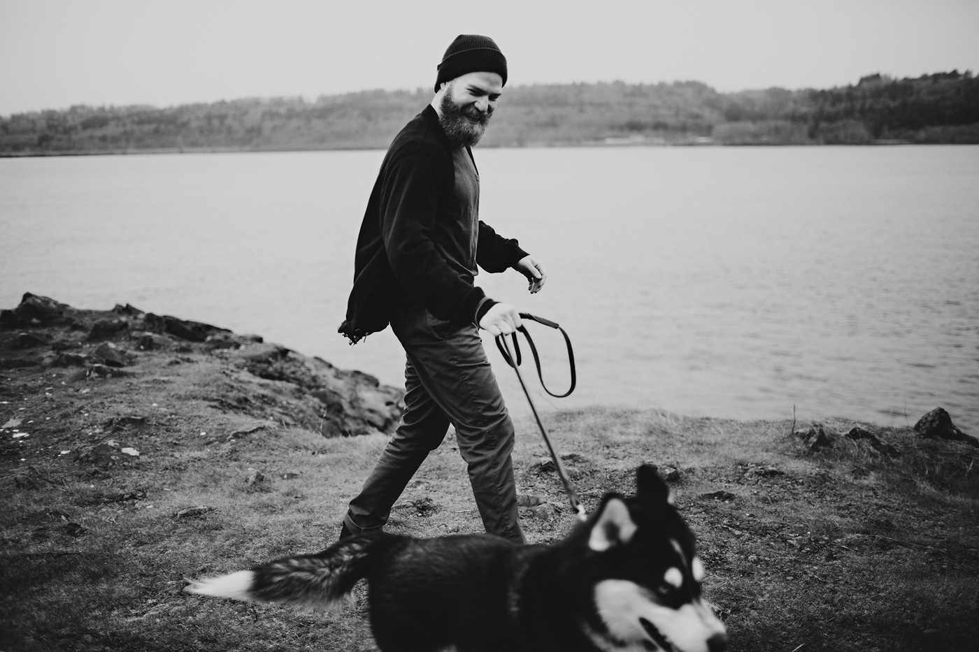 Man walking dog on Columbia Gorge