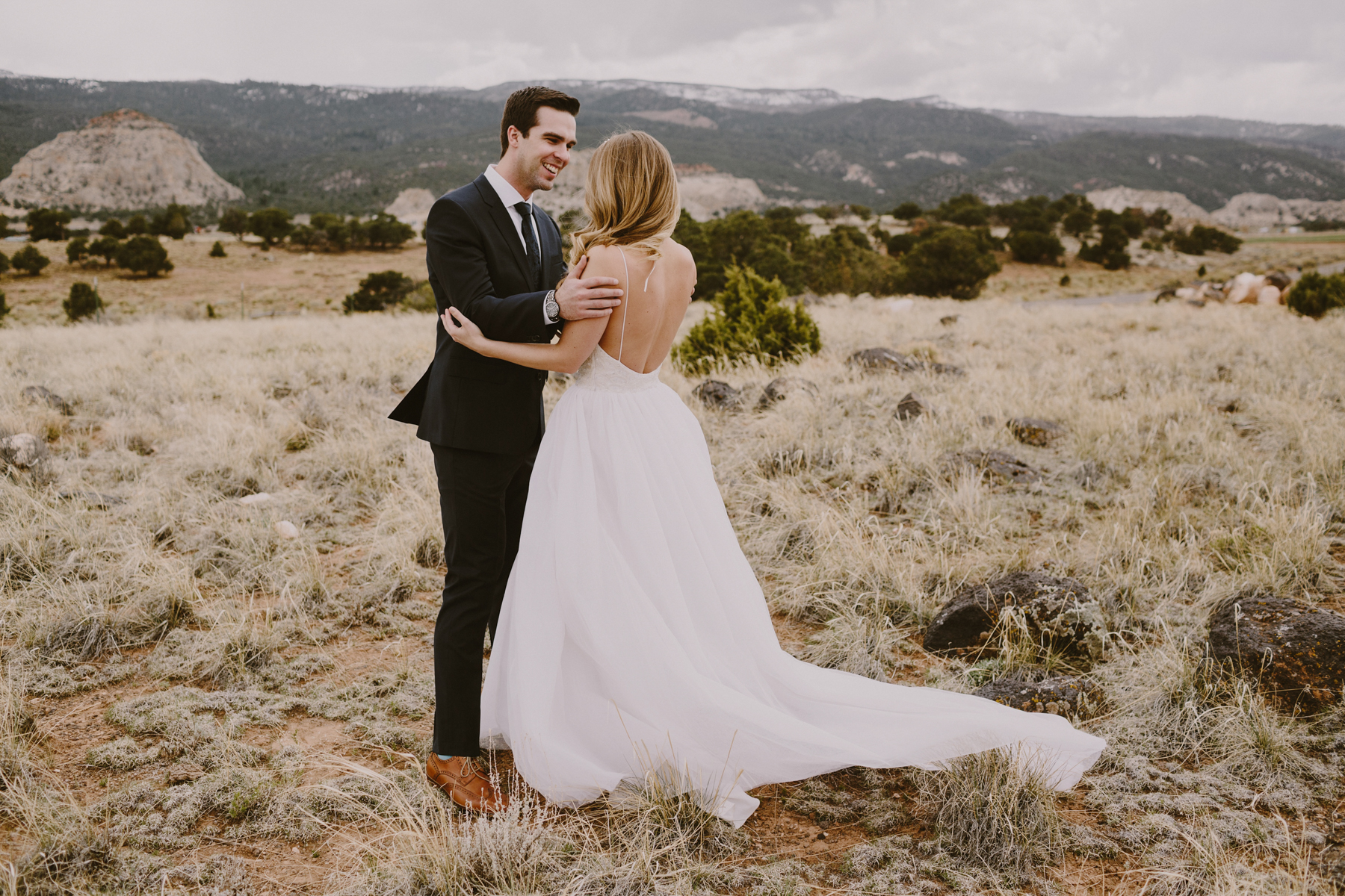 first look on their wedding day in southern Utah