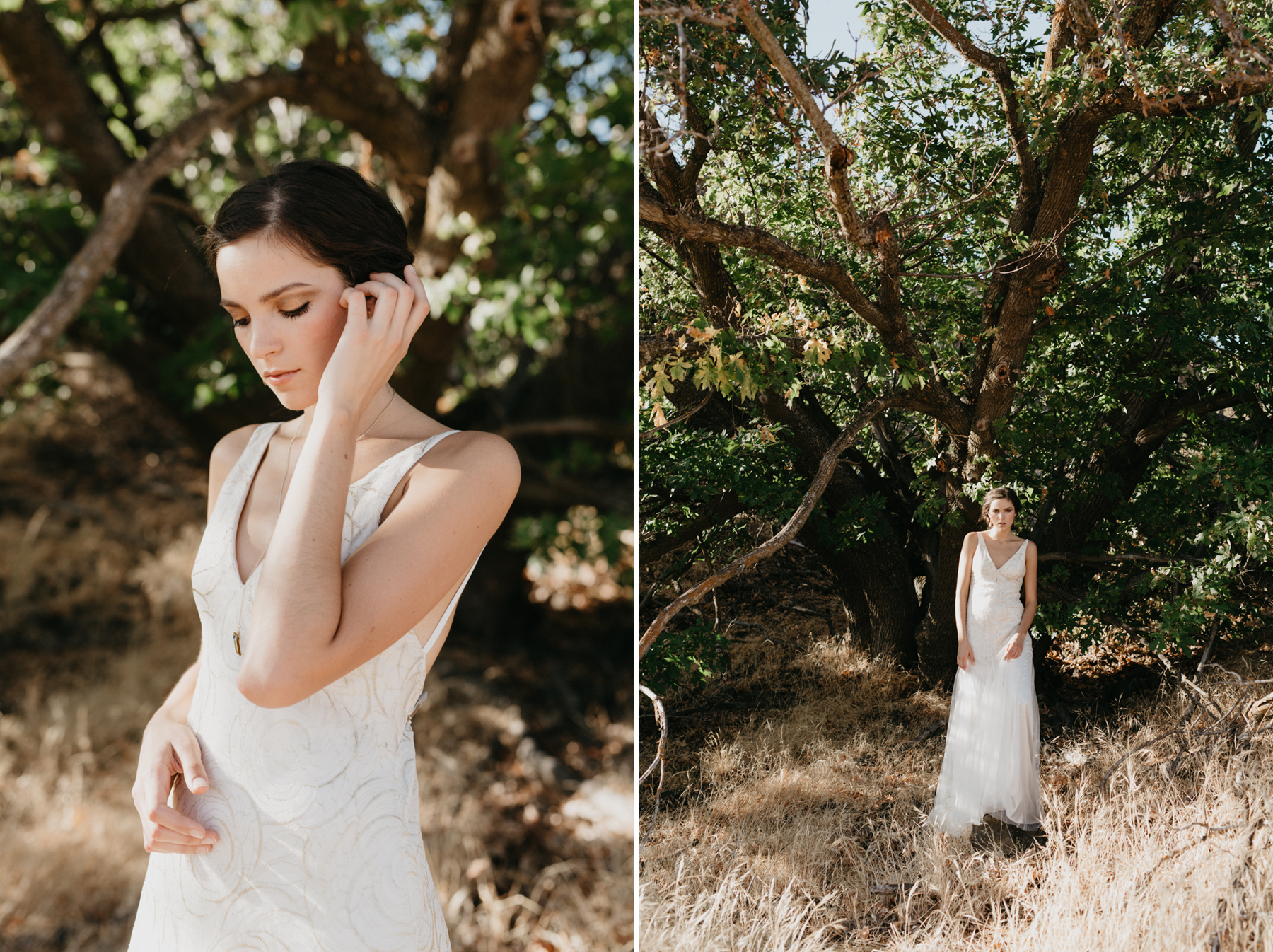 bride standing in beautiful tree in middle of desert
