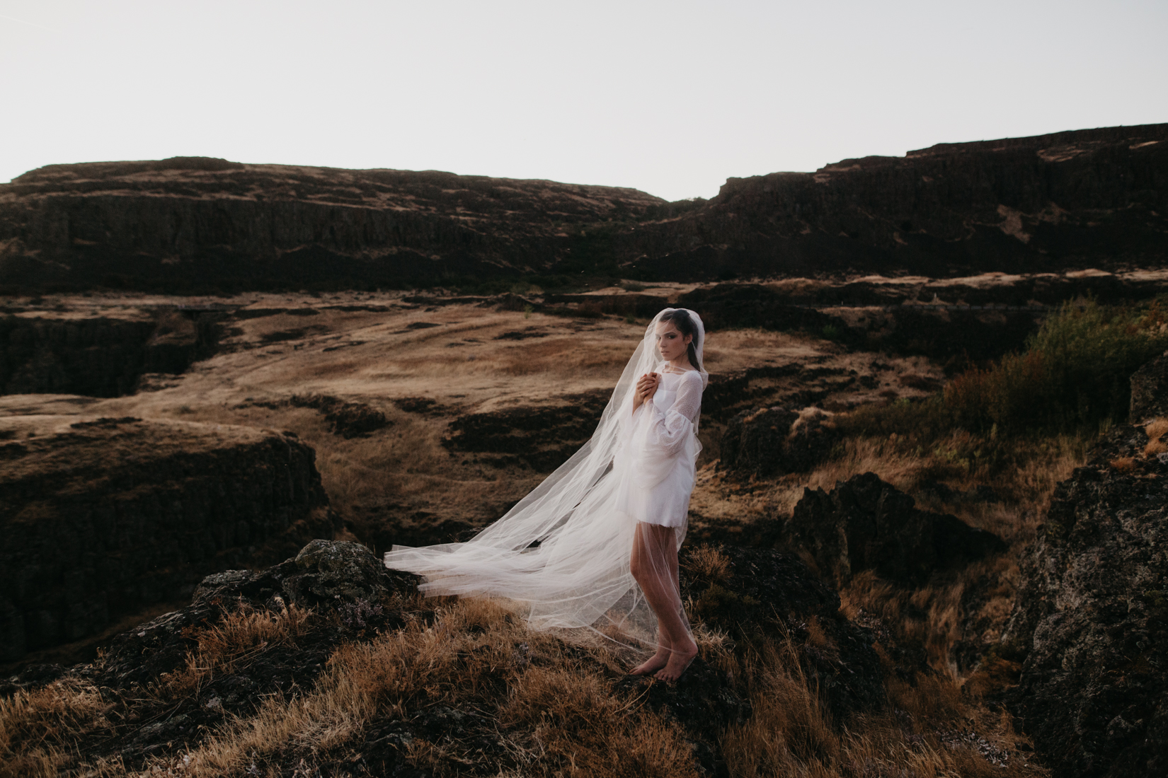 Bride wearing white wedding dress and veil in the hills of Oregon