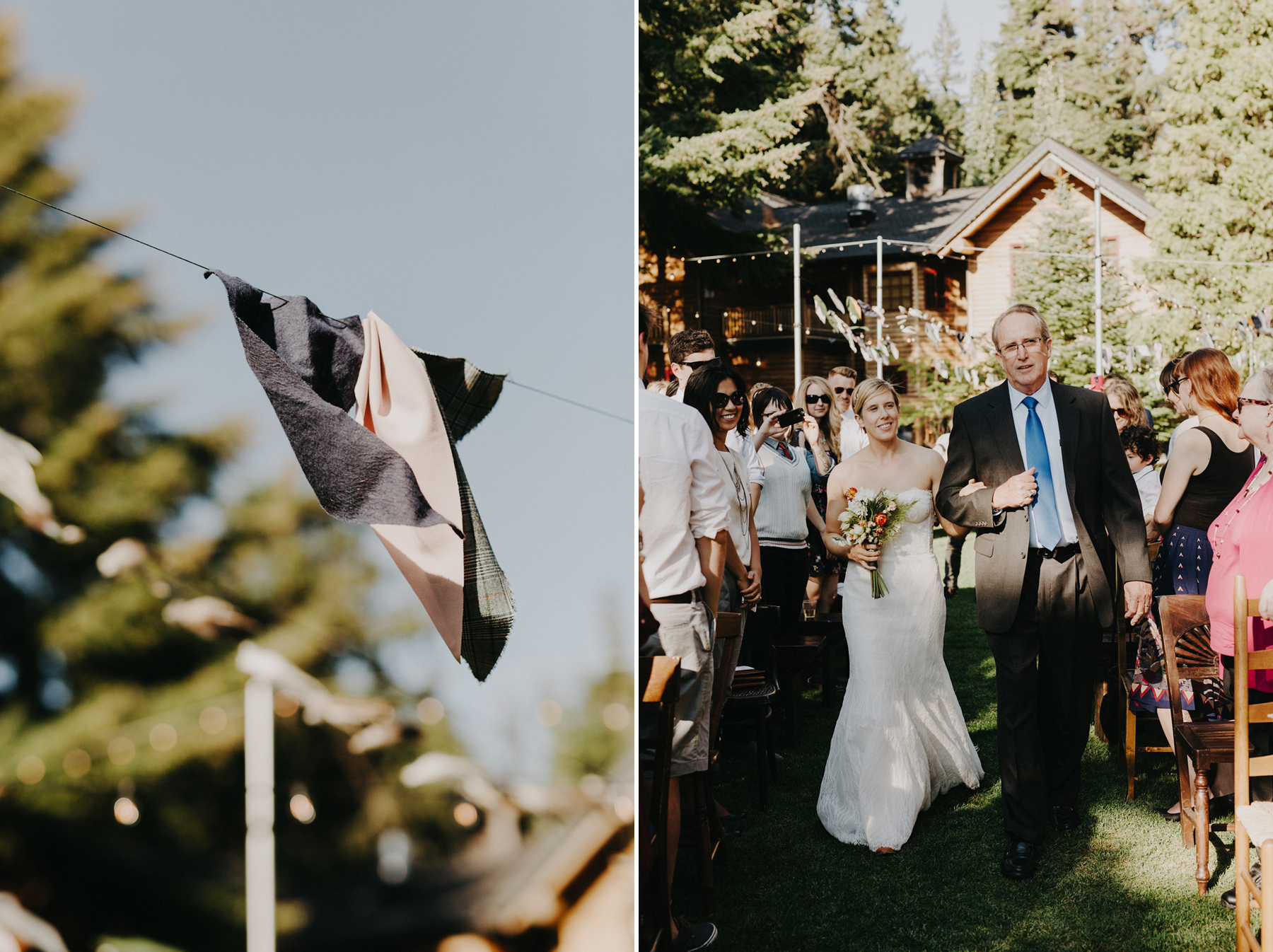 Bride walks down isle at her Oregon Camping wedding