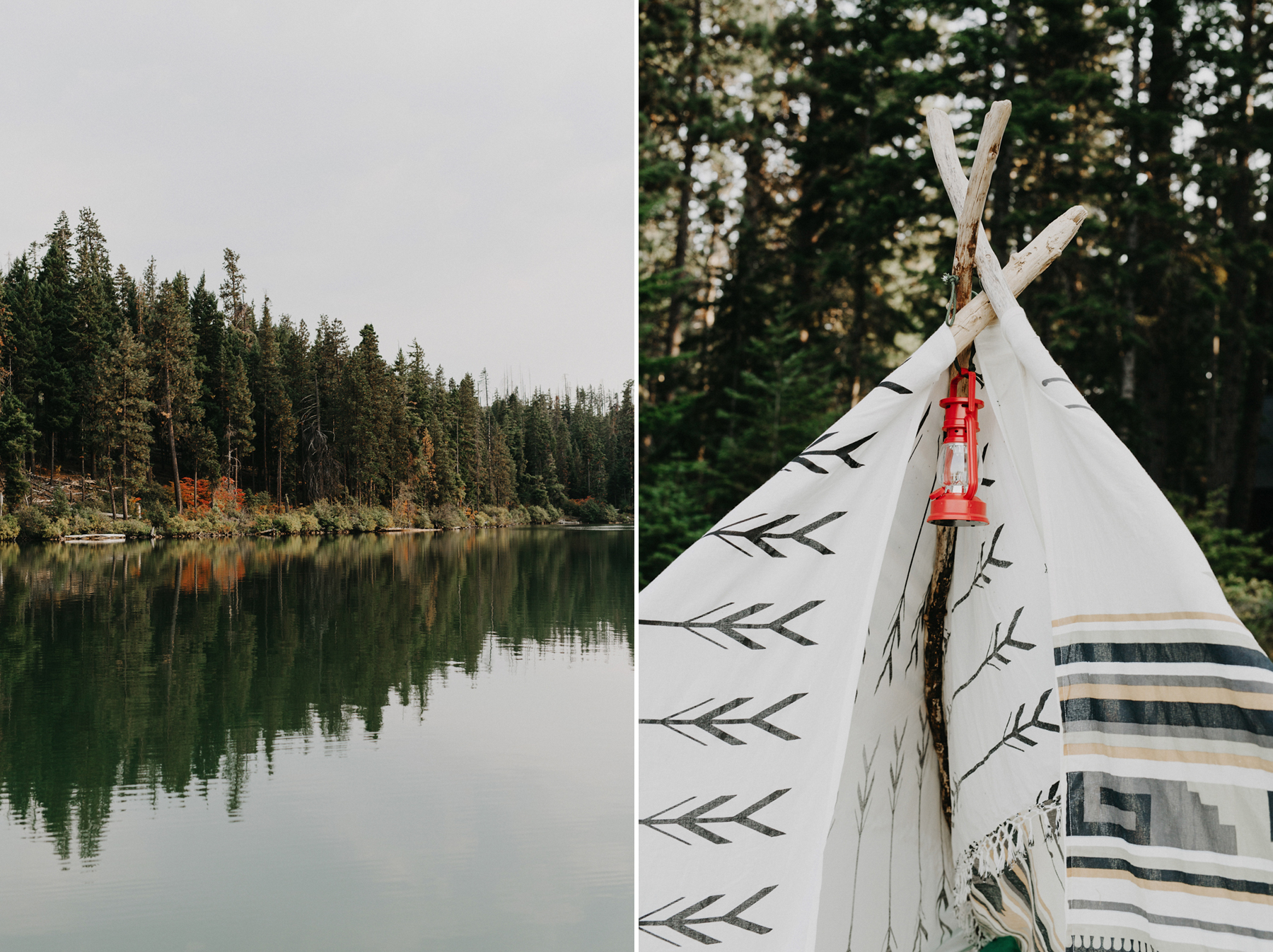 Camping wedding details, a custom teepee set up