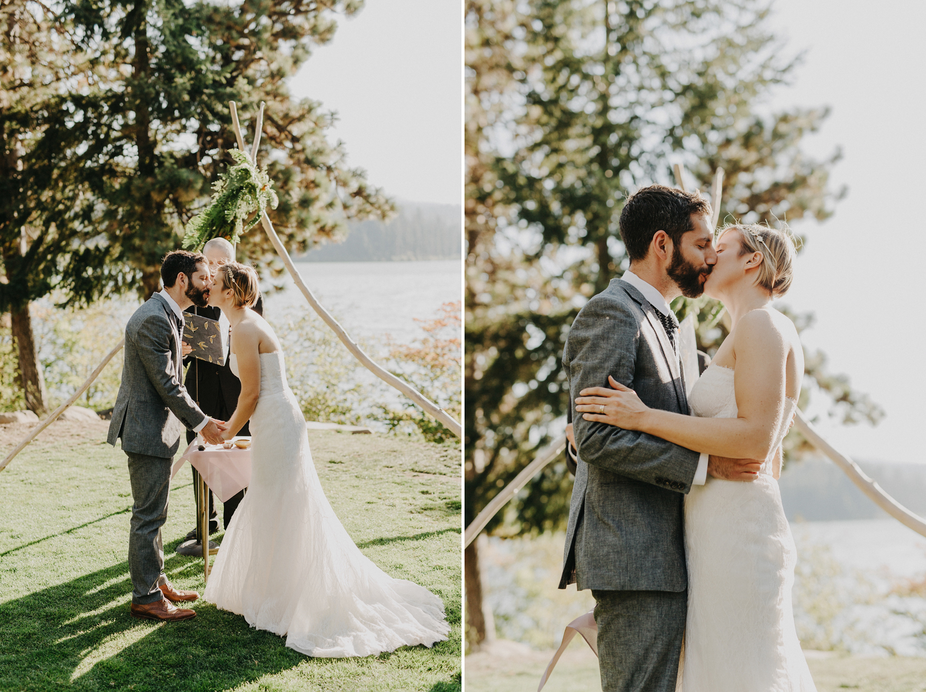 bride and groom share their first kiss as married couple under their custom teepee