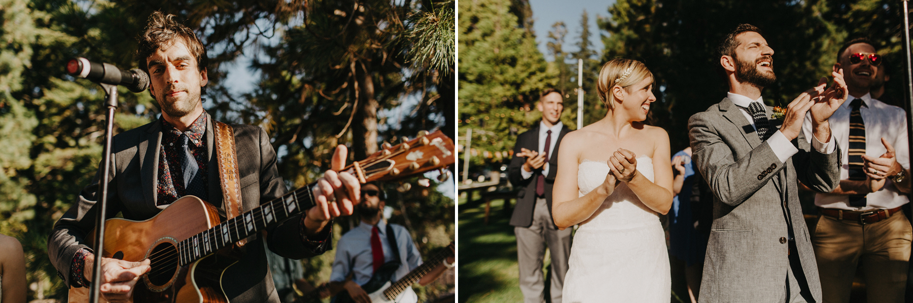 wedding party performs a song during their ceremony in the woods
