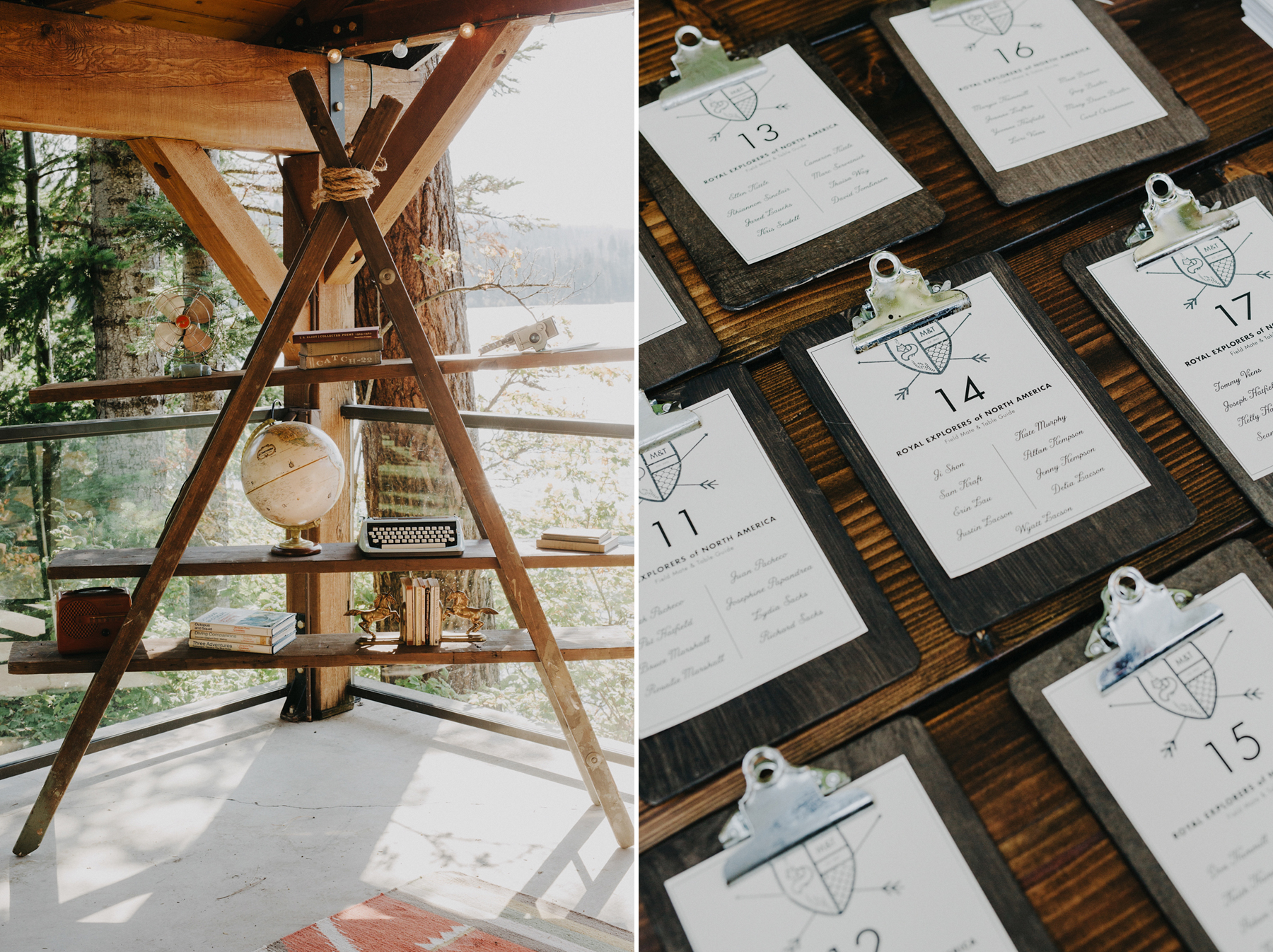 Wes Anderson mid century inspired wedding details at campground wedding