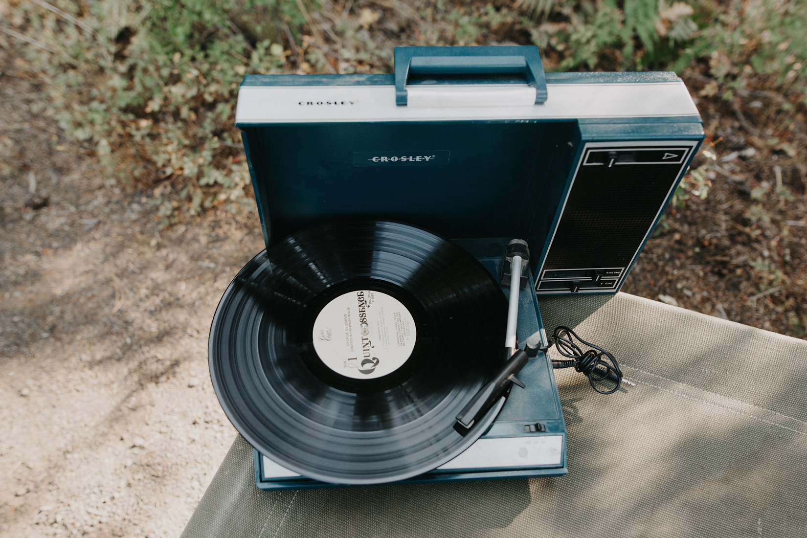 Vintage Record player setup at campground wedding in oregon