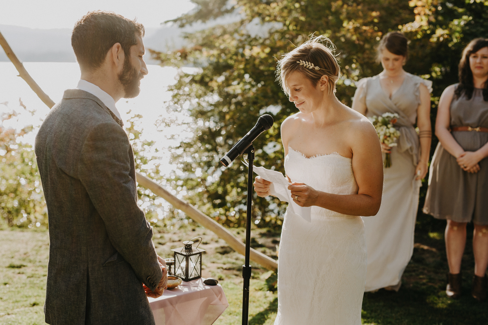 Wes Anderson Themed Wedding ceremony at oregon campground