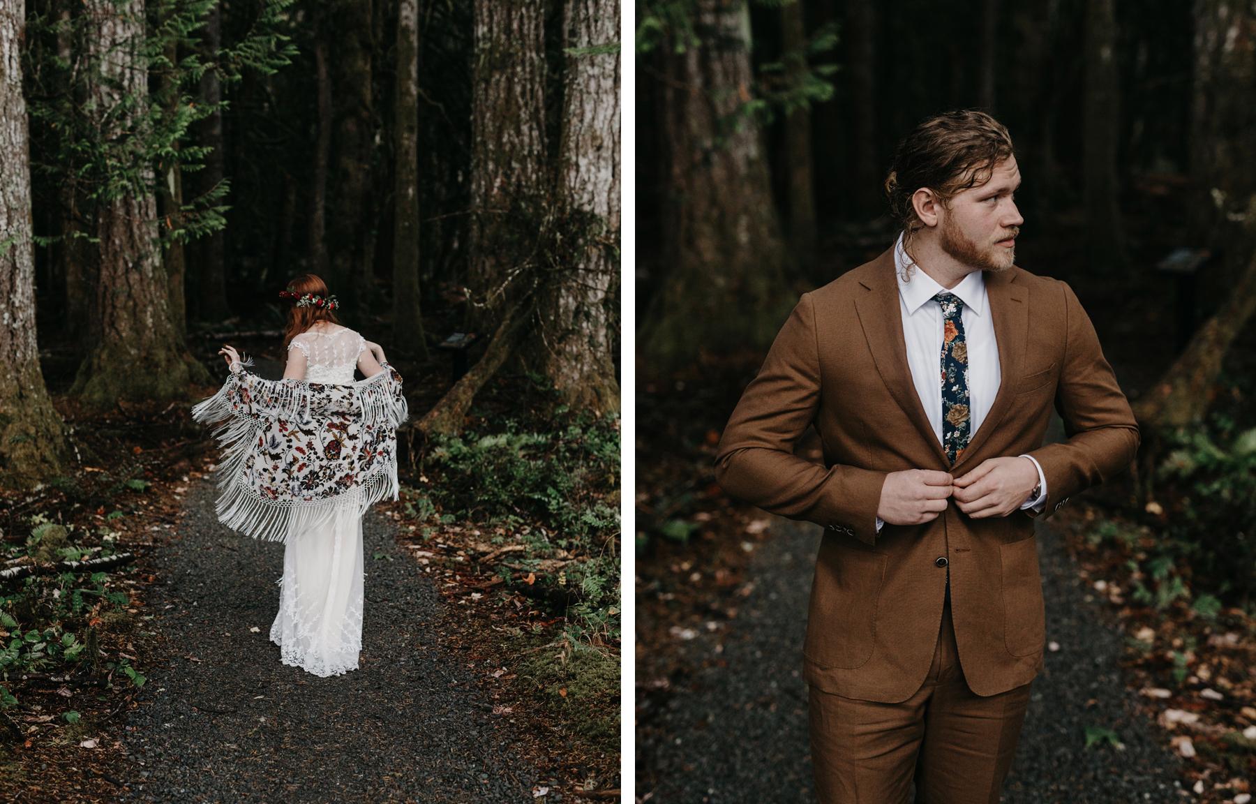 campsite wedding first look