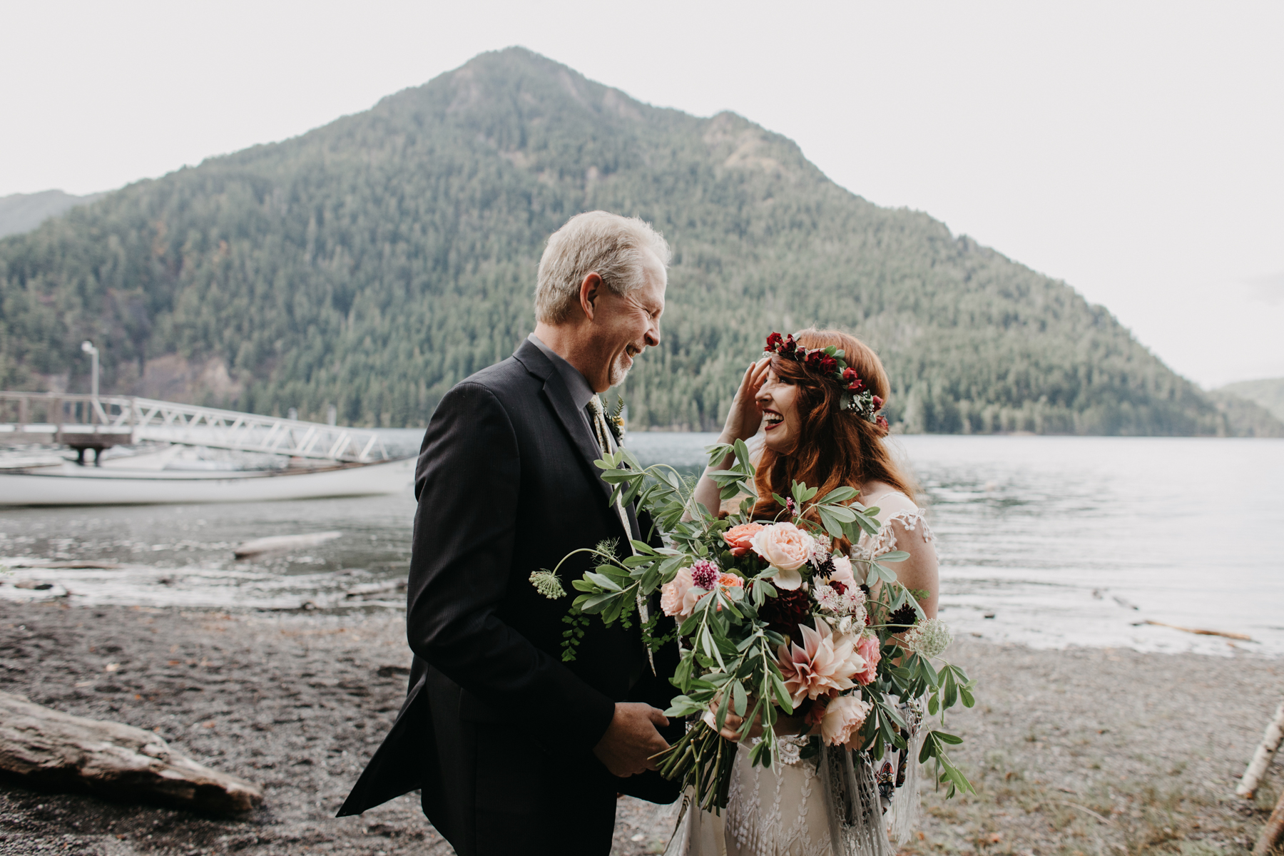 father sees his daughter in her dress for the first time