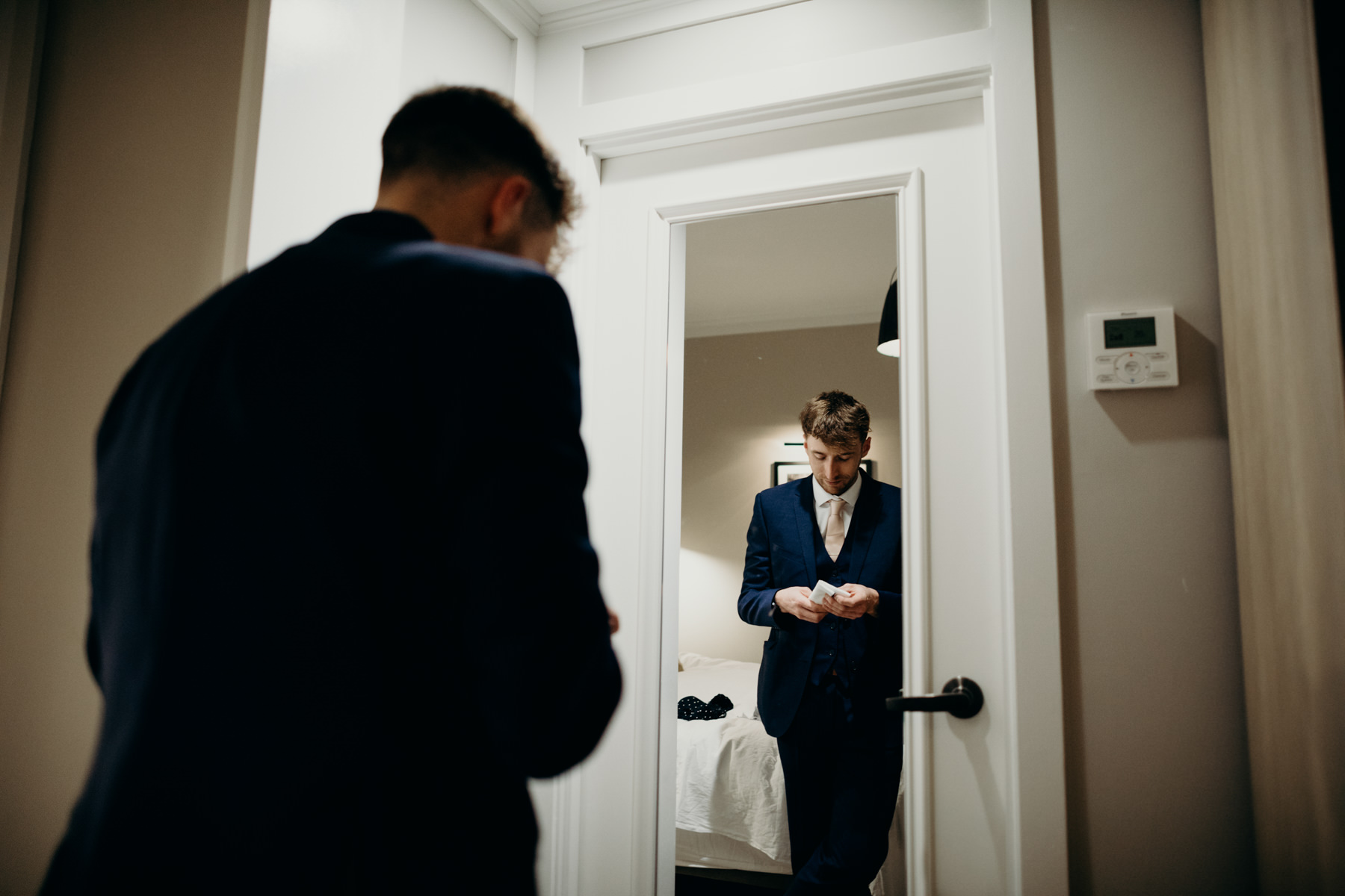 Groom getting ready for his wedding in NYC